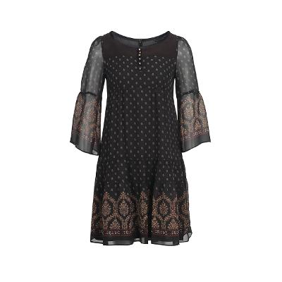 ruffle detail sheer yoke dress